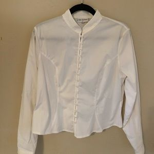 Ann Fontaine white button-up blouse